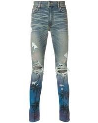 Amiri - Palm Tree Ripped Skinny Jeans - Lyst