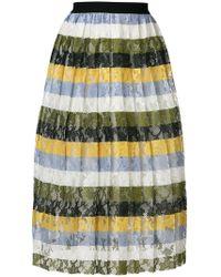 Essentiel Antwerp - Striped Floral Lace Skirt - Lyst