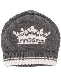 bb148ad3232 Dolce   Gabbana Crown Crest Wool Knit Beanie Hat in Black for Men - Lyst