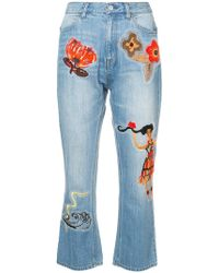 Tsumori Chisato - Embroidered Cropped Jeans - Lyst