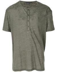 John Varvatos - Button Placket T-shirt - Lyst