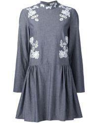 SUNO - Macrame Insert Chambray Dress - Lyst