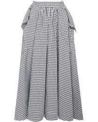 Rejina Pyo - Ruffled Cotton Gingham Midi Skirt - Lyst