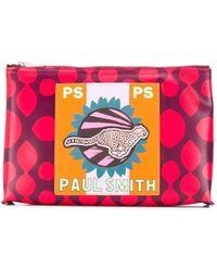 PS by Paul Smith Cheetah Print Clutch Bag - Purple