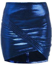 RTA - Wrap-around Metallic Leather Mini Skirt - Lyst