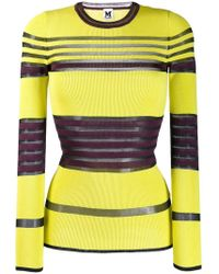 M Missoni - Striped Ribbed Jumper - Lyst