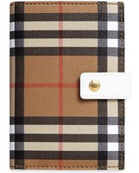 Burberry - Vintage Check And Leather Folding Wallet - Lyst