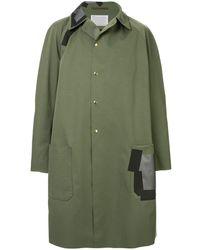 Kolor コントラストパッチ パーカーコート - グリーン