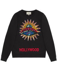 Gucci - Sequined Ufo Patch Cotton Sweatshirt - Lyst