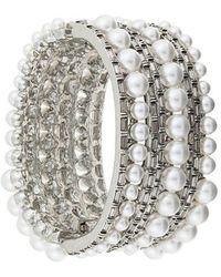 Oscar de la Renta - Pearled Crystal Baguette Bracelet - Lyst