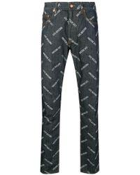 Love Moschino - Logo Print Jeans - Lyst