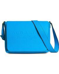 Burberry - Medium Embossed Leather Messenger Bag - Lyst
