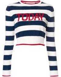 Alberta Ferretti - Today Stripe Cropped Jumper - Lyst