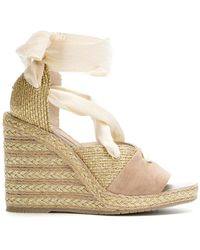 Paloma Barceló - Wraparound Laced Wedge Sandals - Lyst