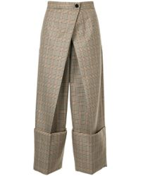 Astraet - Checked Cropped Trousers - Lyst