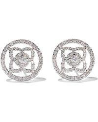De Beers - 18kt White Gold Enchanted Lotus Openwork Diamond Stud Earrings - Lyst
