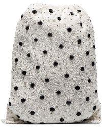 Ganni - White Wintour Sequin Embellished Polka-dot Drawstring Bag - Lyst