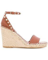 Valentino - Garavani Rockstud Double Wedge Sandals - Lyst