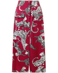 Ultrachic - Long Cat Print Skirt - Lyst