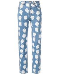 KENZO - High-waisted Floral Jeans - Lyst