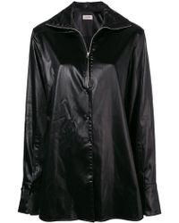 Lemaire - Shiny Oversized Zip Shirt - Lyst