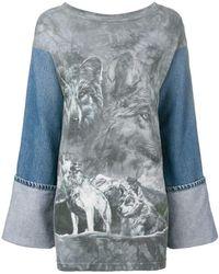 Night Market - Denim Sleeve Wolf Top - Lyst