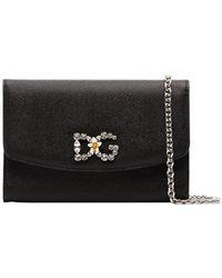 1f33b48c863d Dolce   Gabbana - Black Dg Crystal Embellished Leather Wallet On Chain -  Lyst