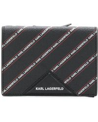 Karl Lagerfeld Striped Logo Medium Wallet