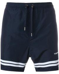 Neil Barrett - Stripe Hem Swim Shorts - Lyst