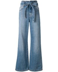 MSGM - Belted Wide Leg Jeans - Lyst