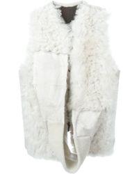Ann Demeulemeester Blanche - Draped Collar Shearling Jacket - Lyst
