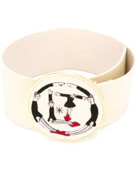 Olympia Le-Tan - - Embroidered Buckle Belt - Women - Cotton/leather - M - Lyst