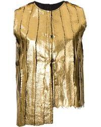 Simona Tagliaferri | - Foil Printed Distressed Gilet - Women - Wool - M | Lyst
