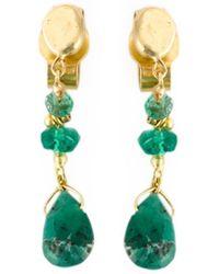 Natasha Collis - Emerald Drop Stud Earrings - Lyst