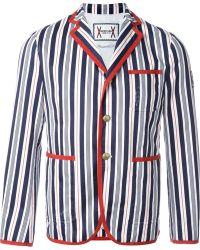 57234df89e Moncler gamme bleu Contrast Button Blazer in Black for Men   Lyst