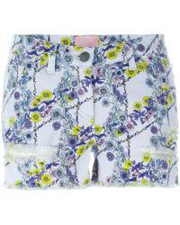 Giamba - Floral Print Denim Shorts - Lyst