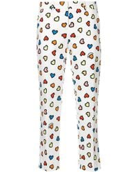 Love Moschino | Heart Print Cropped Trousers | Lyst