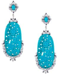 Gemco - Turquoise Carved Drop Diamond Earrings - Lyst