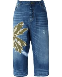 Laneus - Palm Patch Cropped Jeans - Lyst