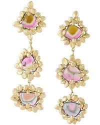 Natasha Collis - 18kt Yellow Gold Cluster Earrings - Lyst