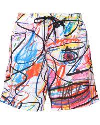 Jeremy Scott - Scribble Print Swim Shorts - Lyst