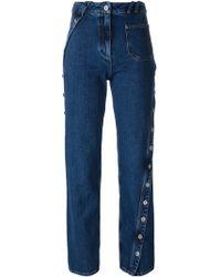 Courreges - Courrèges Button Detail Straight Leg Jeans - Lyst