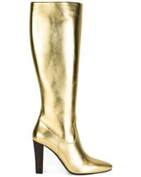 Saint Laurent - Lily Metallic-Leather Knee-High Boots - Lyst