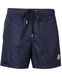 Moncler - Logo Plaque Swim Shorts - Lyst