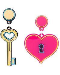 Yazbukey - Heart And Key Earrings - Lyst