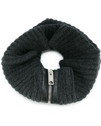 Les Hommes - Ribbed Zip Scarf - Lyst
