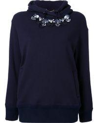 MUVEIL - Embellished Neckline Hoodie - Lyst