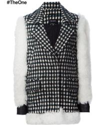 Yigal Azrouël Contrast Sleeve Checked Coat