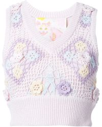 Mikio Sakabe - Floral-Embroidered Sleeveless Cotton Knit Top - Lyst