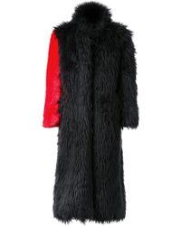 99% Is - Fur Effect Contrast Sleeve Coat - Lyst